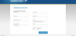 Constant Contact create new account