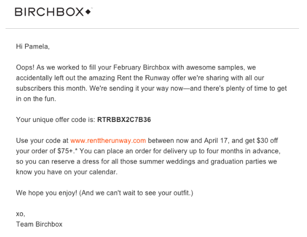Email marketing example showing a discount code